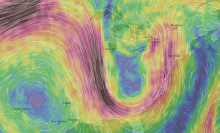 Jet Stream from late July 2018.  Image from Ventusky.com